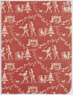 White pattern on a red ground showing a lattice framework of holly leaves. Between is a fireplace; two men, one who carries a platter of food, the other a candlestick; and two children with a Christmas tree.