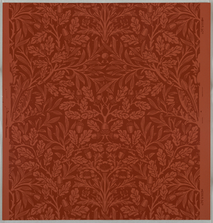 """Acorn"" pattern; a/i: printed in red on red. Sample number 135050; j/l: printed in blue on brown. Sample number stamped on verso: 138670."