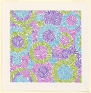 Irregular arrangement of circles broken by irregular lines in purple, yellow-green, and blue.