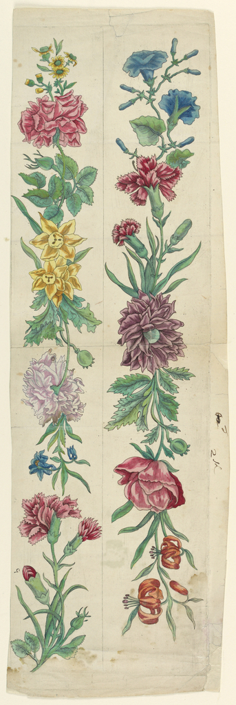 Two horizontal strips show carnations, morning glories, hyacinths, tiger lilies, roses and other flowers with their foliage.