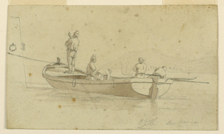 """The boat is fastened by a rope to a pier of which part is shown at left. Five men are in the boat. A sailing boat and the shore are visible in the background, at right. Below, at right, is the signature: """"C J H Rome October 1811."""""""