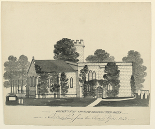 View of one side of the church and part of the graveyard. Verso: in graphite: linear sketch of the centeral church tower