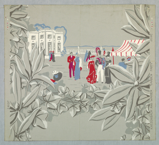 Design of flowers and leaves in foreground and at back, house and promenade with people in early 19th century styles.