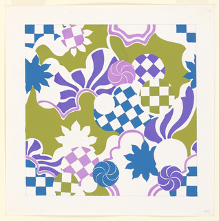 Flower-like motifs and checks in yellow-green and blue-violet.