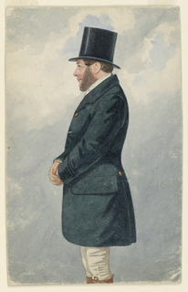 Vertical rectangle. A man wearing face whiskers and a riding habit seen standing three-quarter length in left profile.