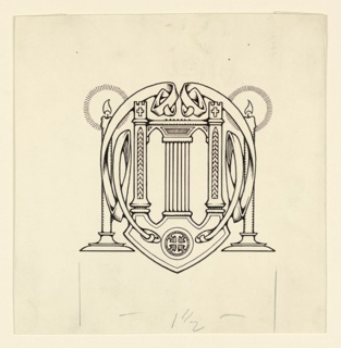 A symmetrical design composed of a lyre as central motif, flanked by interlacing bands and lighted candles.