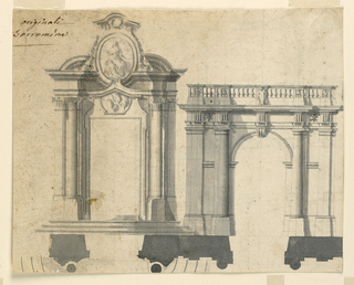Horizontal rectangle showing design for two gateways. Left one topped by oval medallion. Right topped with balustrade.
