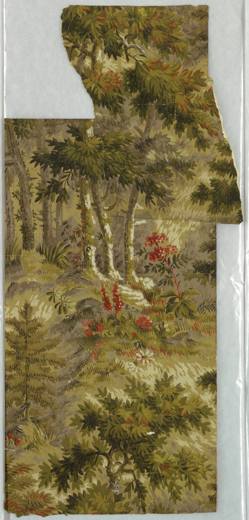 Incomplete unit of a forest scene. Printed in shades of green and red.