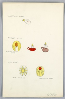 On single illustration board: 6  color drawing of various forms of light, e.g. electric light bulb,  lit candle  light, sunlight  (picture of sun and rays on button surface).