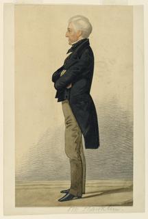 Vertical rectangle. An elderly gentleman, clean-shaven, seen full-length standing in left profile.