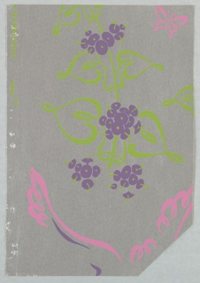 5 similar patterns in different colorways removed from sample book: a) Abstract floral design with red and green flowers, with a hummingbird and butterfly composed of white outline, printed on gray ground; b) purple and green flowers, pink bird and butterfly, on silver ground; c) yellow and green flowers, white bird and butterfly, on ocher ground; d) yellow and green flower, white bird and butterfly, on medium gray ground; e) red and white flower, metallic gold bird and butterfly, on deep brown ground.