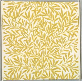 Serpentine arrangement of leaves and branches of willow. Printed in ocher on white ground.