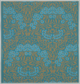 """Michaelmas Daisy"" pattern, three samples, printed in blue and tan on blue. Sample number stamped on verso: 138720."