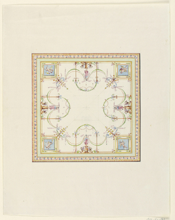 Drawing, Square Ceiling Design, 18th century