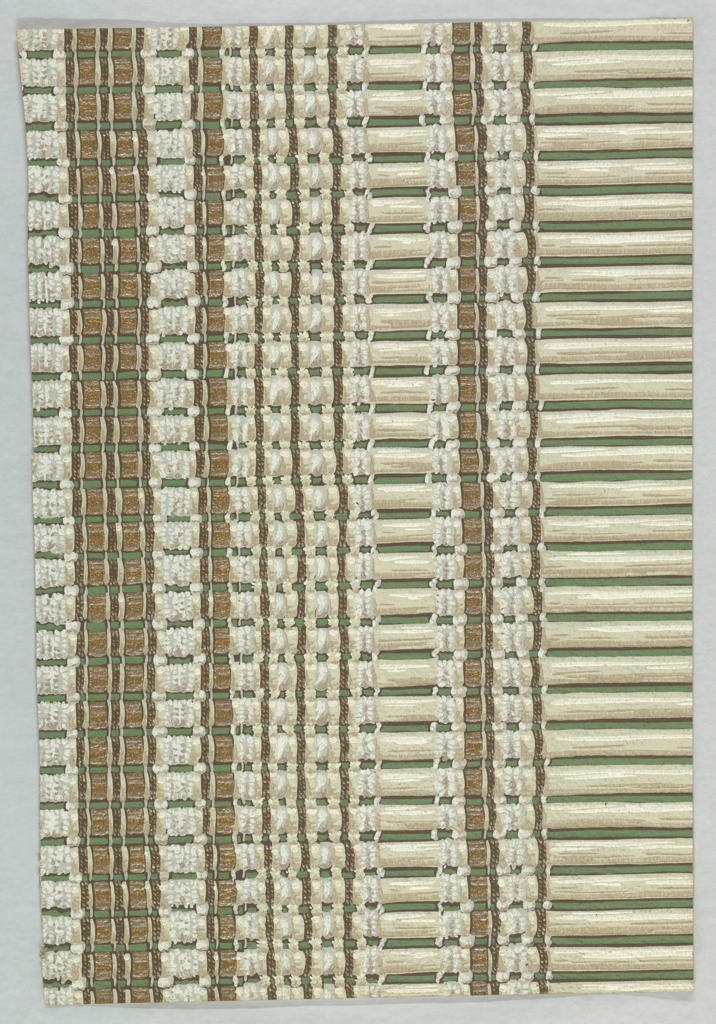 Design imitating a woven bamboo or slatted window shade. Printed in warm earthy colors.