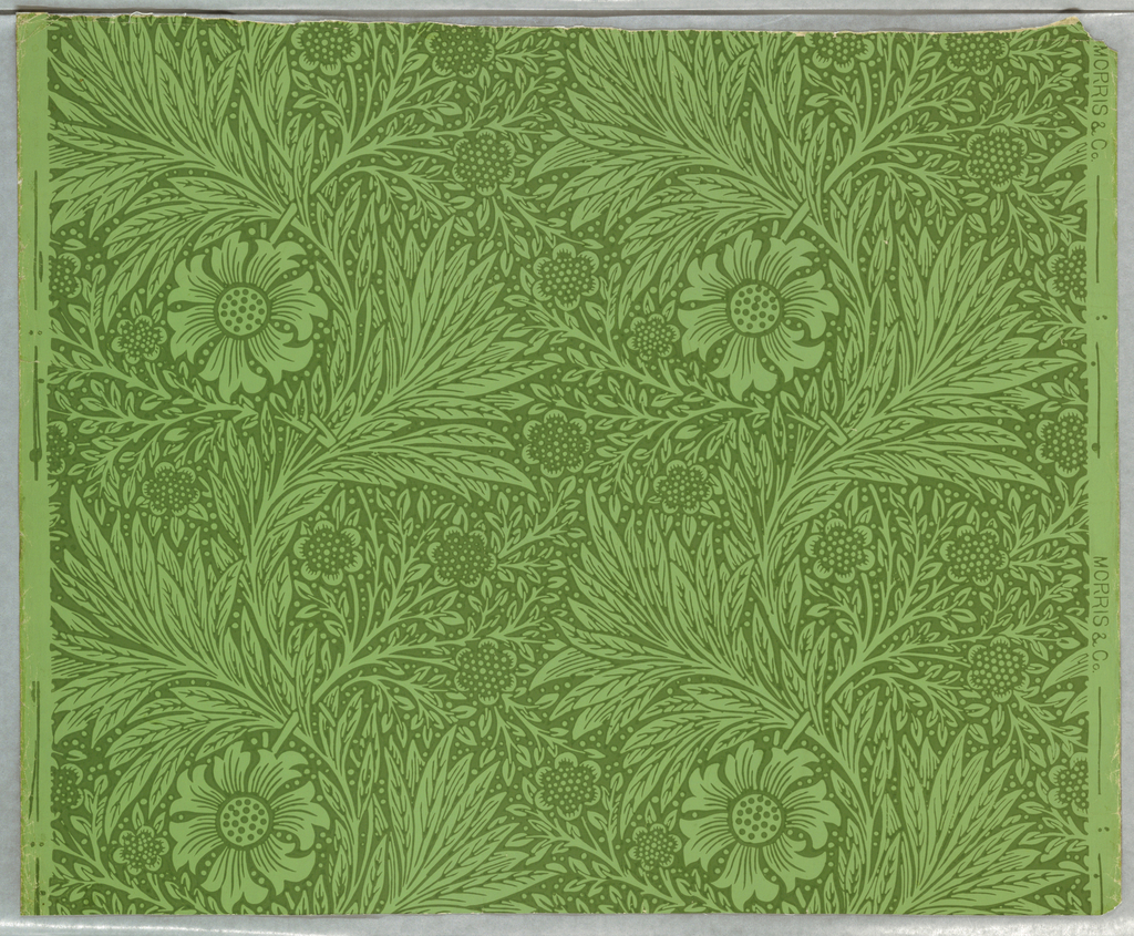 Vertical ascending serpentine bands of foliage and flowers, with regular repeat. Four color combinations: a) dark neutral green on light neutral green; b) green on light green; c) green on cream; d) neutral dark blue on olive; f) dark neutral green on light neutral green.