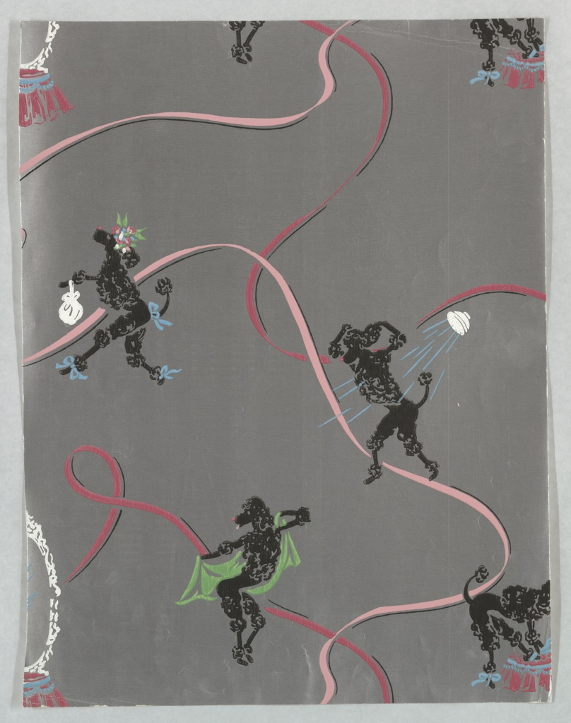 Black French poodles performing a number of human activities including showering, toweling off, primping at a vanity, and strolling with a handbag and blue ribbons. Printed on a metallic silver ground.