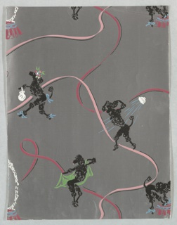 Black French poodles performing a number of human activities including showering, toweling off, primping at a vanity, and strolling with a handbag wearing blue ribbons. Printed on a metallic silver ground.