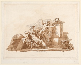 """Horizontal composition with a personification of architecture shown in profile, looking to the right at a winged male writing on a monument: """"Ratiocinatio/Et Fabrica"""" """"An./MDCCXCVII."""" Attributes of architecture and a globe are on the ground at left and right. Bottom center: """"Felix Giani inv. et sculp."""" Four framing lines."""