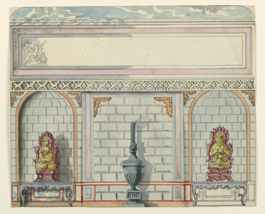 A panel, painted in imitation of stonework with a large urn stove standing in front of it. Panel above incomplete.