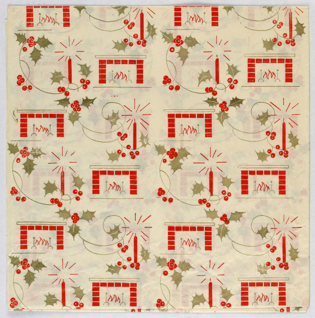 Repeating pattern of a fire in a brick hearth, a radiant red candle and holly with berries.