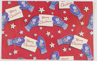 Blue, white and black print on a red ground. Pattern of stars and mittens with floral decoration holding a card reading: Merry Christmas