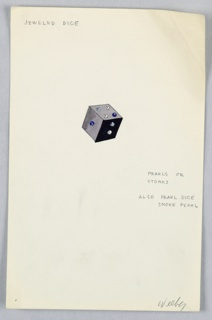 1 drawing on paper: gray cube with colored dots (indicating pearls or gems) as a jeweled dice.