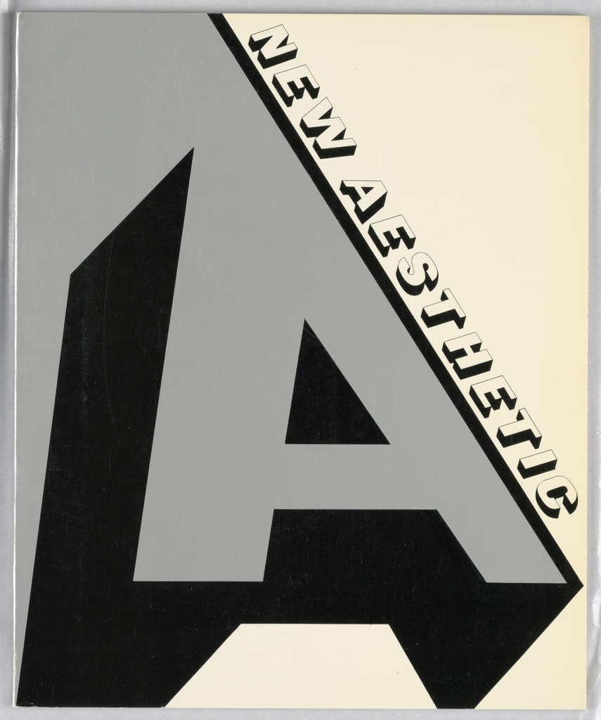 """Exhibition catalogue for A New Aesthetic, Washington Gallery of Modern Art, Washington, D.C. Vertical rectangle format. At left, a large block letter """"A"""" in silver and black, with shadow to add three-dimensionality. Right of composition has white ground, diagonal white text bordered with black."""
