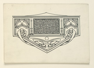 A symmetrical design composed of a central panel of decoration flanked by lighted candles and cusped openings. Interlacing bands below.