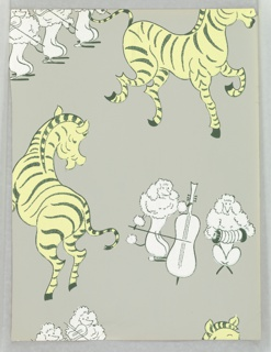 Design containing French poodles playing musical instruments including violin, cello and accordian, as large yellow zebras dance and prance about. Printed on gray ground. Appropriate for a children's room or boudoir/powder room. Produced by Asam Bros.