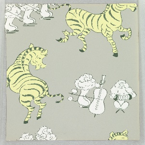 Design containing French poodles playing musical instruments including violin, cello and accordian, as large yellow zebras dance and prance about. Printed on gray ground. Approrpiate for a children's room or boudoir/powder room. Produced by Asam Bros.