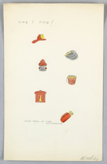 On a single sheet of paper: 6 color  drawings of fire fighter's equipment  (e.g. fireman's hat, fire hydrant, hose, bucket, alarm box, fire extinguishe)r.