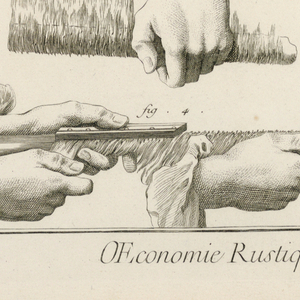 Six diagrams or illustrations of manner of combing and winding cottom. Hands shown, left.