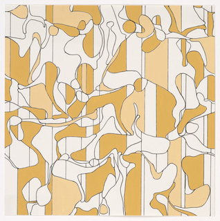 Abstract shapes broken by verticals in two shades of dull yellow.