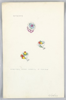 On single sheet of paper: 3 color drawings of flower bouquets, with pencilled annotations.