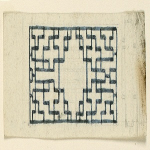 Horizontal rectangle. Design for the Royal Pavilion, Brighton. A rectangular compartment, containing a trellis-work design.  Original album associated with this collection still exists.  See 1948-40-1 accessory