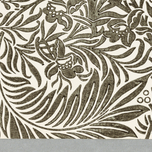 """Larkspur"" pattern; a/j: printed in tan on white. Sample number stamped on verso: 134960; k/u: printed in red on orange-red. Sample number stamped on verso: 133400; v/z: printed in black on white. Sample number stamped on verso: 133360."