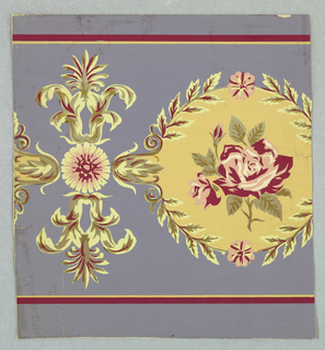 A medallion with a laurel wreath border enclosing a rose and bud. Between medallions is a rosette with two leaves facing opposite directions with an anthemion-like ornament between. Printed in rose, white, olive and gold on blue field.