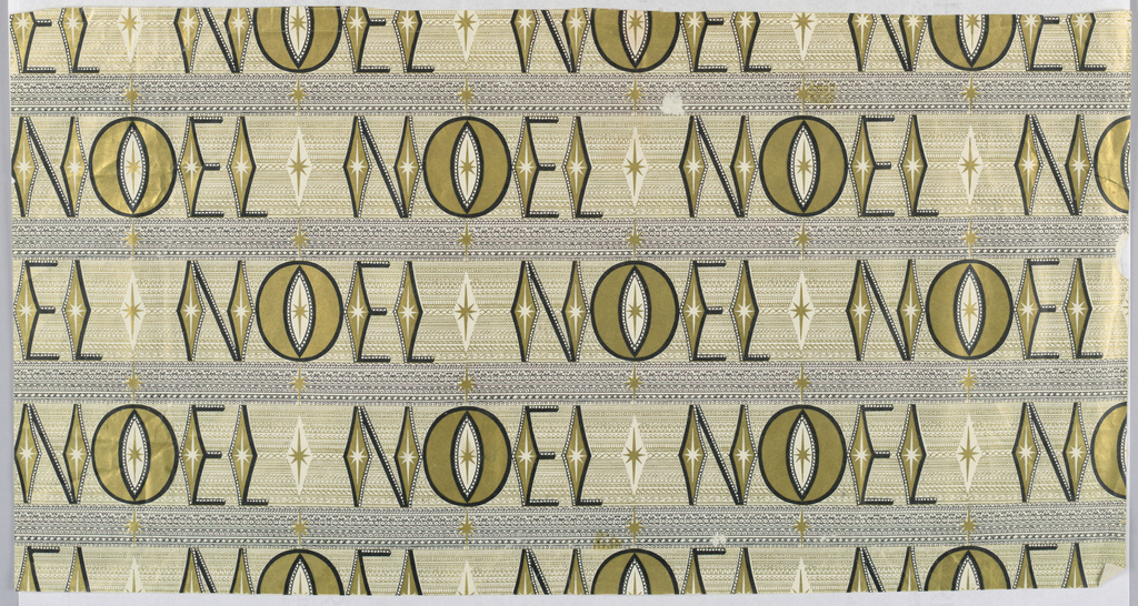 Horizontal bands of black and green, composed of minute geometric patterns. On the green bands, the word NOEL in repeat, interspaced with radiant diamonds.