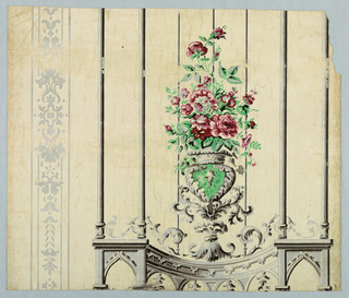 Design simulates a semi-circular trellis of delicate, slender columns surrounded by a frieze of slender Gothic arches. Design is inspired by and in keeping with the Gothic Revival. All architectural detail is in gray and black. In center of trellis on top of frieze is an urn in emerald green with red roses. Green urn is surrounded with elaborate scrolls in gray. To left of wallpaper and trellis is a narrow vertical stripe, printed in gray,consisting of delicate scroll work between parallel lines. Paper is from an old house in Marblehead, Massachusetts. Printed in gray, black, green and red on old ivory paper.