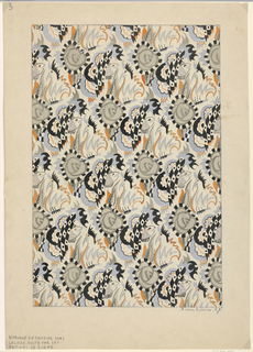 Design composed of abstract fish, roses, and rooster [?] in drop repeat creating a diaper pattern.