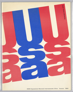 "Printed text ""usa"" arranged vertically, repeating across white ground in a diagnal line, alternating between red and blue. Black printed text at upper right and lower right."