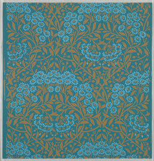 """""""Michaelmas Daisy"""" pattern, three samples, printed in blue and tan on blue. Sample number stamped on verso: 138720."""