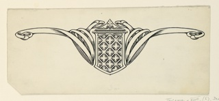 A symmetrical design composed of a central decorative shield, flanked by interlacing bands.