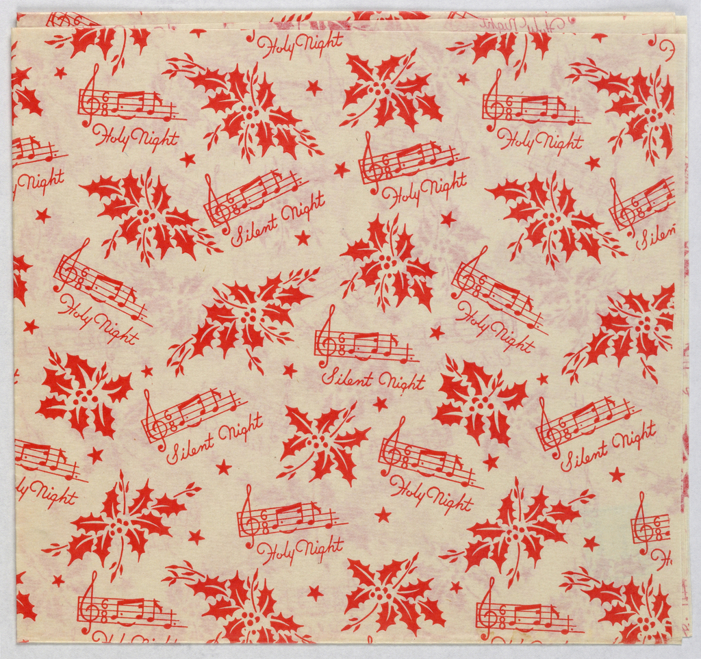 Red pattern on a white ground showing a musical score, holly and stars.