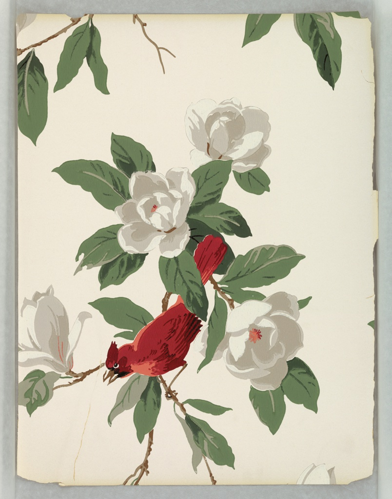 Bright red cardinal perched on a branch with large white flowers. Printed in red, green, brown, white, and gray on white ground.