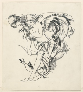 The winged, almost nude figure of a boy runs toward the left. He holds a bow in his right hand; a quiver hangs at his side.