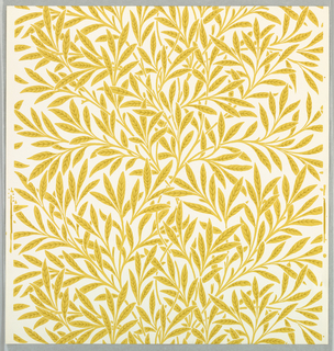 """Willow"" pattern; six samples printed in gold on white. Sample number stamped on verso: 134780."