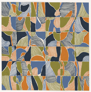 Squares, each bearing an abstract image in oranges and blues.