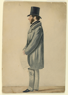 "Vertical rectangle. A man wearing face whiskers, a frock coat, and top hat stands left profile, full-length, holding a copy of a sheet inscribed ""Tattersalls"" in his hand."